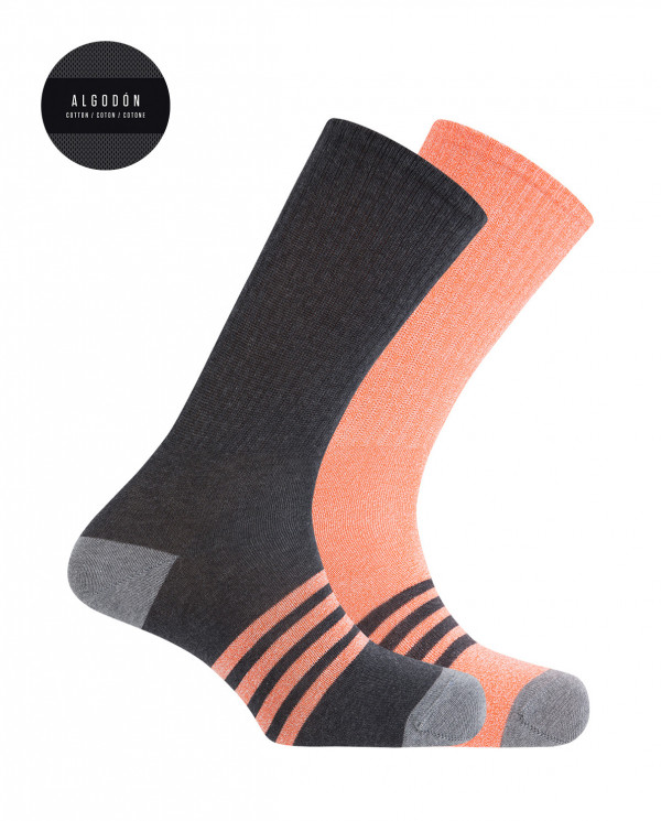 Pack de 2 calcetines de algodón deportivos - rayas Color Surtido - 1