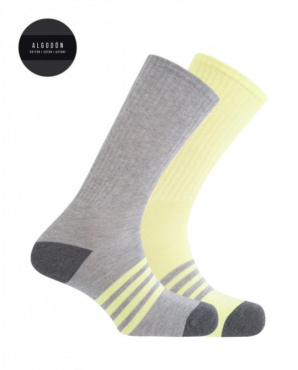 2 pack sport cotton socks - stripes Color Assorted - 1