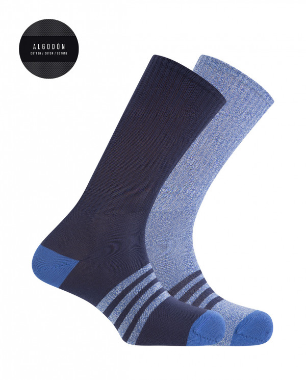 2 pack sport cotton socks - stripes Color Assorted - 1