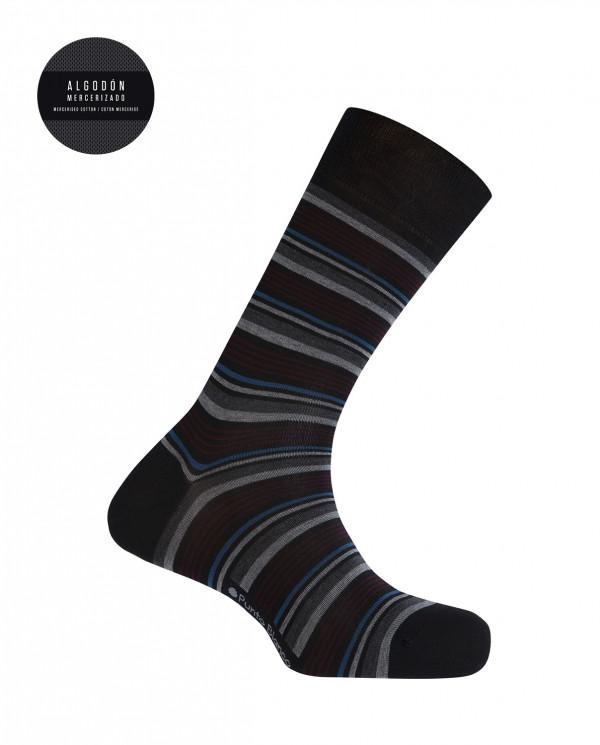 Calcetines de algodón mercerizado - rayas finas Color Negro - 1