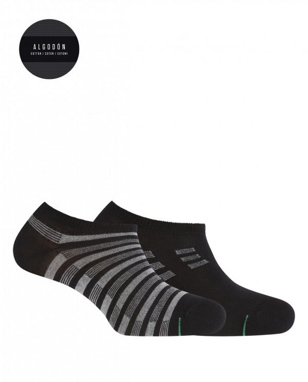 Pack de 2 calcetines de algodón deportivos - rayas Color Negro - 1