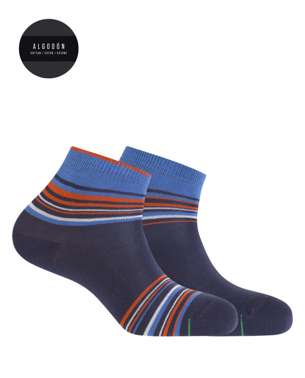 2 pack of sports cotton socks - stripes Color Navy - 1