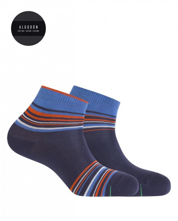 Lot de 2 chaussettes de sport en coton - rayures Couleur Bleu marine - 1