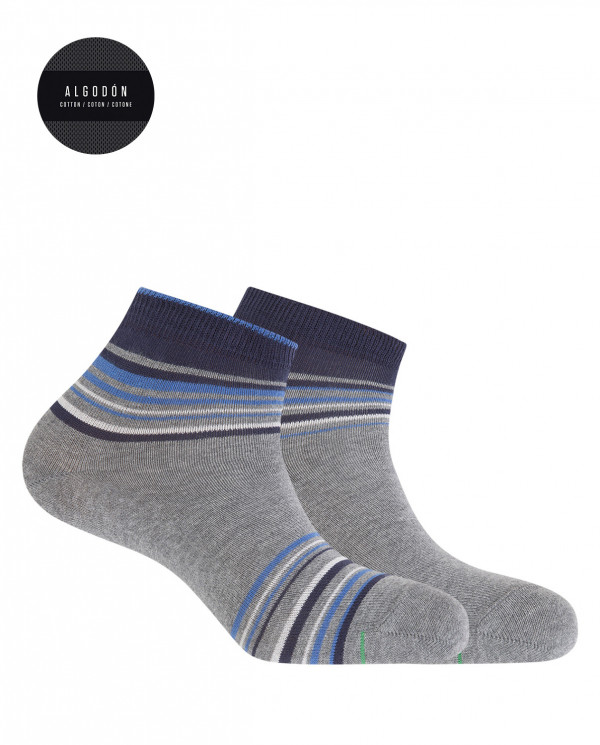 2 pack of sports cotton socks - stripes Color Grey - 1