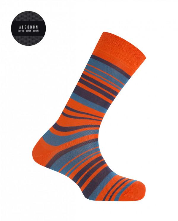 Chaussettes rayées en coton Couleur Orange - 1