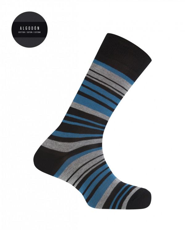Chaussettes rayées en coton Couleur Noir - 1