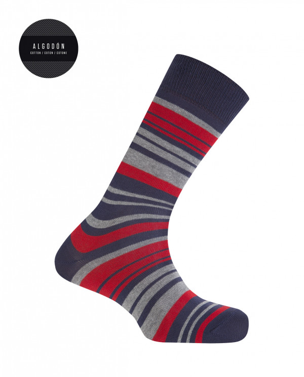 Cotton socks - stripped Color Navy - 1