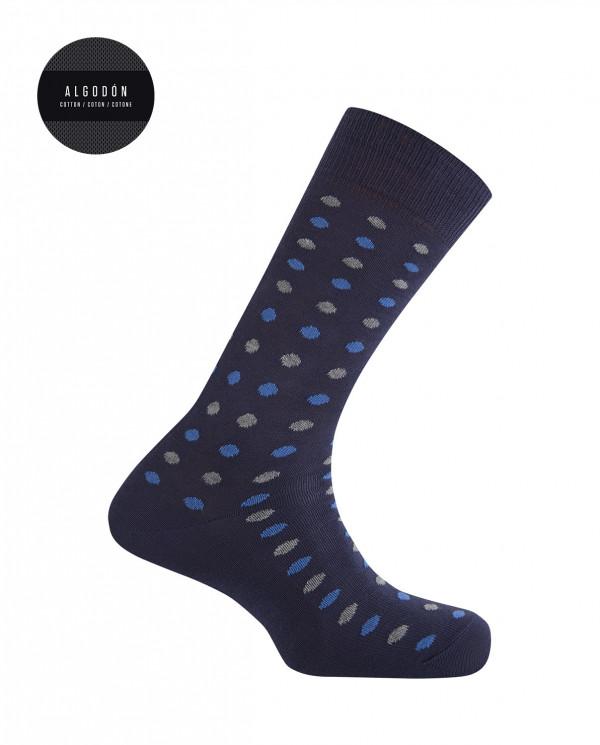 Chaussettes en coton - pois Couleur Bleu marine - 1