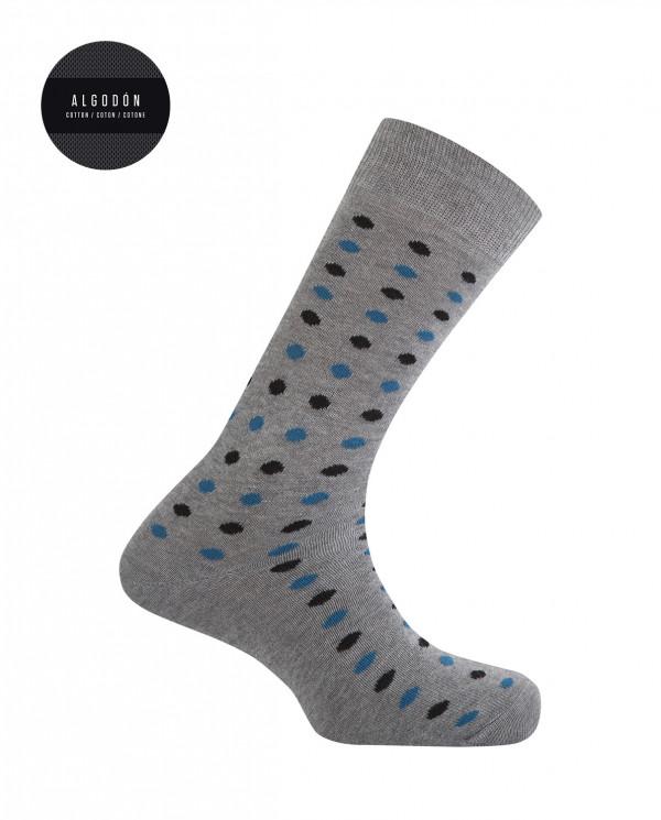 Chaussettes en coton - pois Couleur Gris - 1