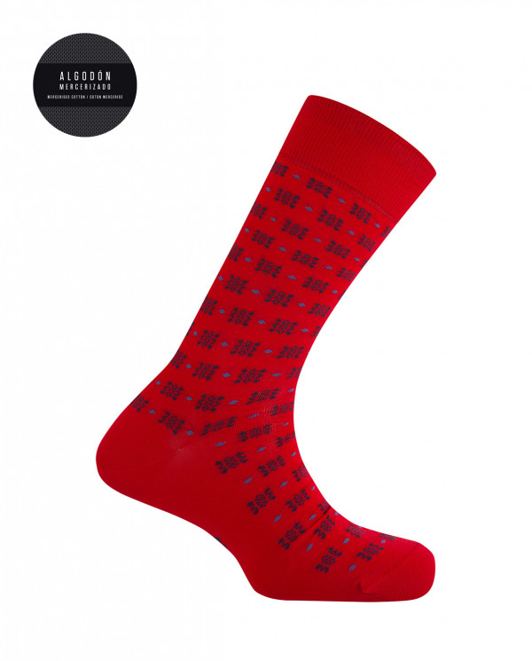 Mercerized cotton socks - geometric pattern Color Red - 1