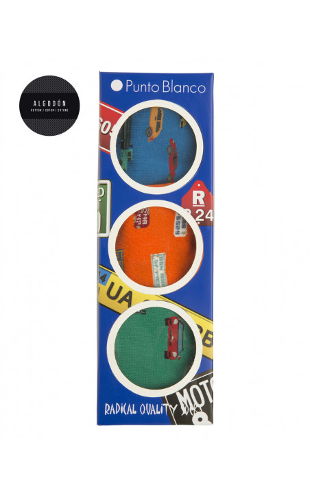 Boîte de 3 chaussettes en coton - fantaisie Couleur Assorti - 1