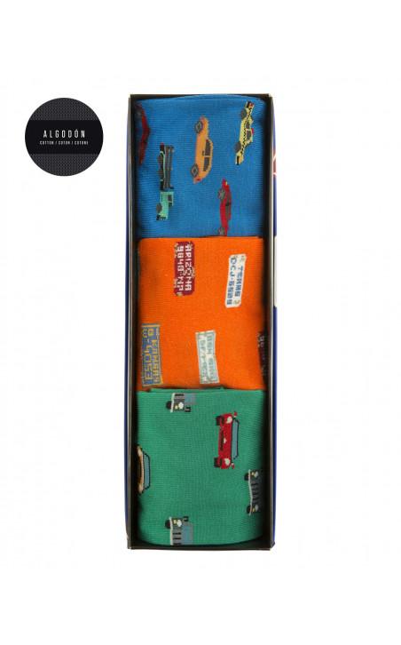 Boîte de 3 chaussettes en coton - fantaisie Couleur Assorti - 1 - 2