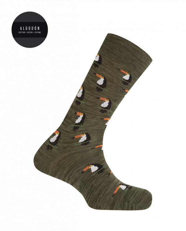 Twisted thread socks - toucan Tropical collection Color Green - 1