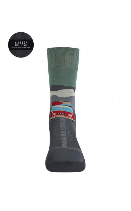 Chaussettes en coton mercerisé - Vacances Collection Travel Couleur Vert - 1 - 2