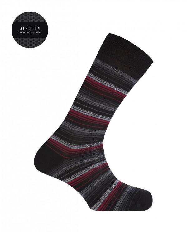 Chaussettes en coton - rayures fines Couleur Noir - 1