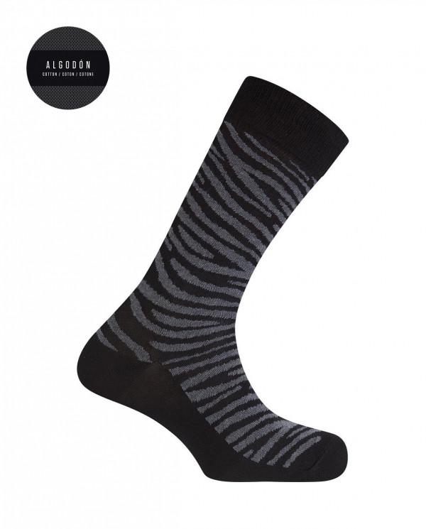 """Cotton socks - zebra animal print """"Stories"""" Color Black - 1"""