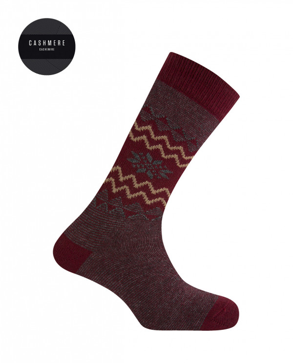 Short cashmere/wool socks - snow flower border Color Burgundy - 1
