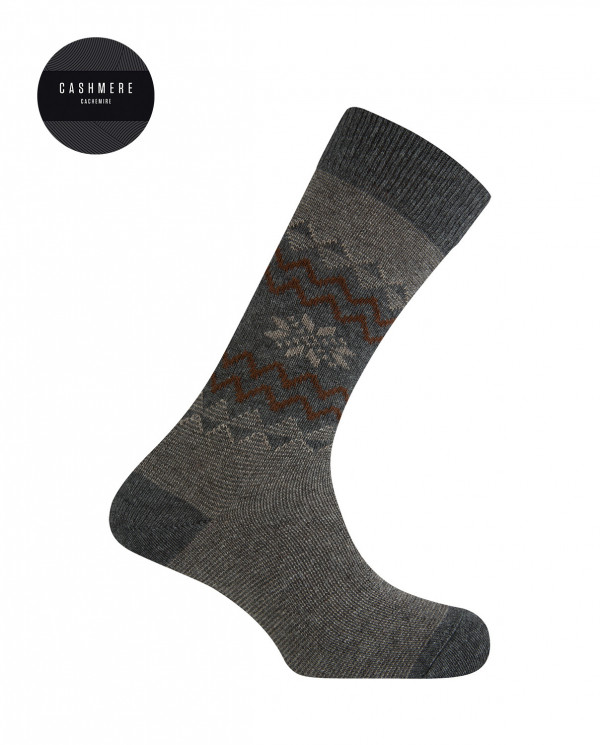 Short cashmere/wool socks - snow flower border Color Grey - 1