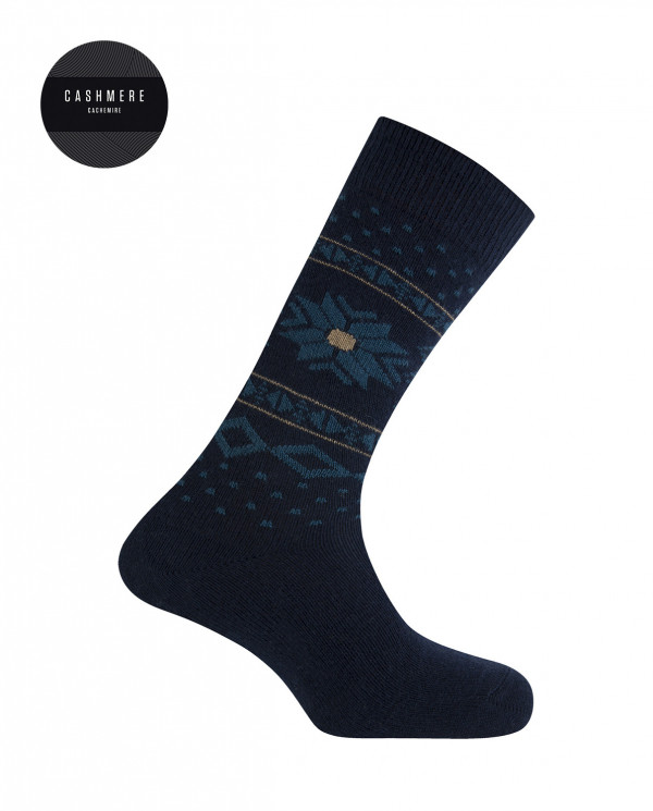 Short cashmere/wool socks - snow flower border Color Navy - 1