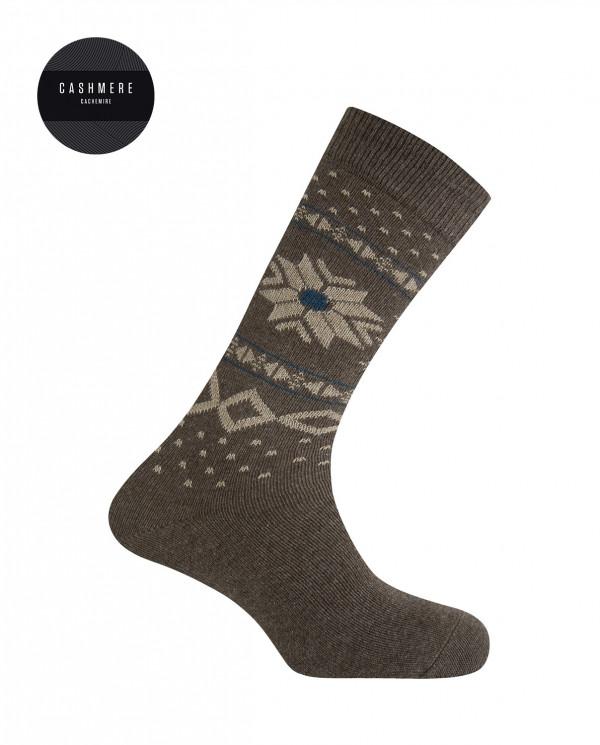 Short cashmere/wool socks - snow flower border Color Brown - 1