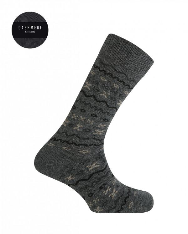 Short cashmere/wool socks - border Color Grey - 1