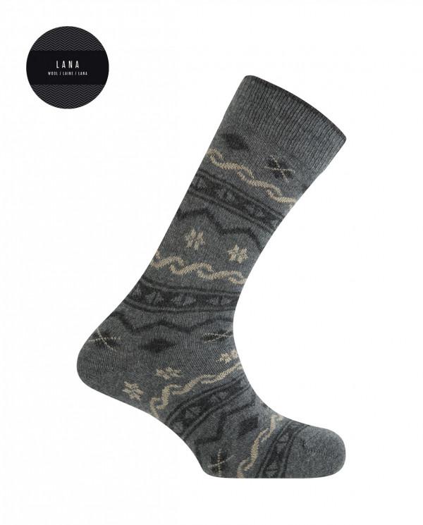 Lambswool socks - nordic border Color Grey - 1