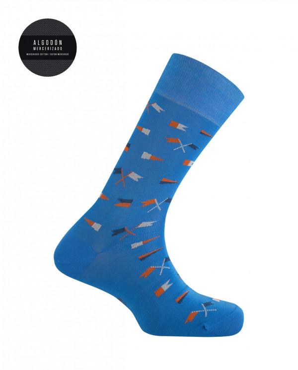 Chaussettes en coton mercerisé - Drapeaux Street Style Couleur Bleu marine - 1