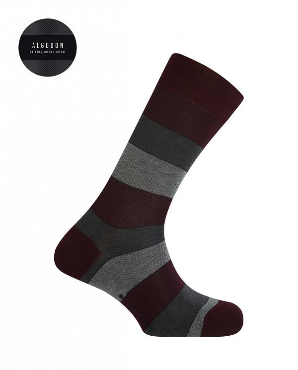 Chaussettes courtes en coton mercerisé - rayures à pois Couleur Bordeaux - 1