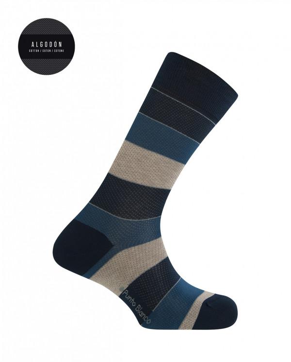 Chaussettes courtes en coton mercerisé - rayures à pois Couleur Bleu marine - 1