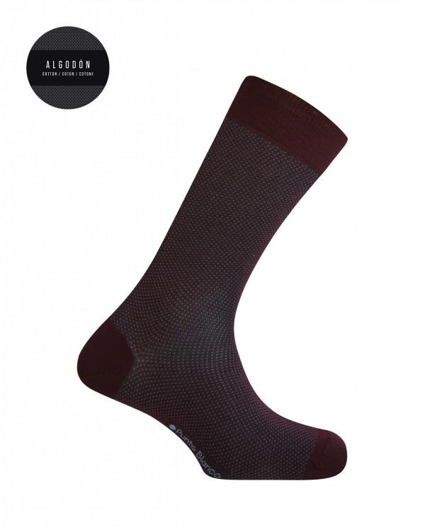 Short mercerized cotton socks - dots Color Burgundy - 1