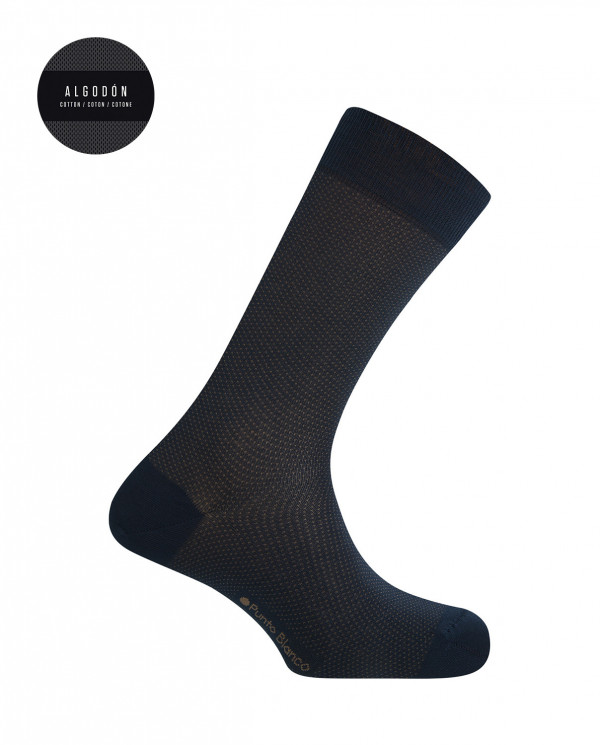 Short mercerized cotton socks - dots Color Navy - 1