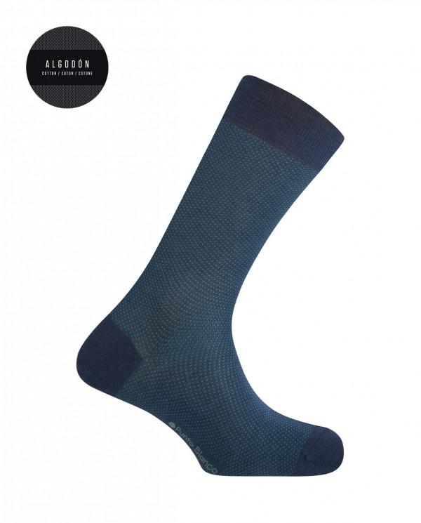 Short mercerized cotton socks - dots Color Blue - 1