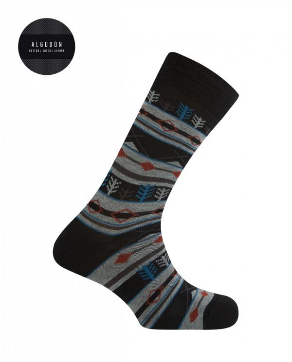 Calcetines cortos de algodón - cenefas forestales Color Negro - 1