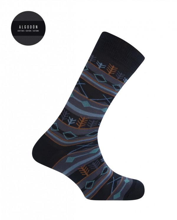 Chaussettes courtes en coton - bordures forestières Couleur Bleu marine - 1