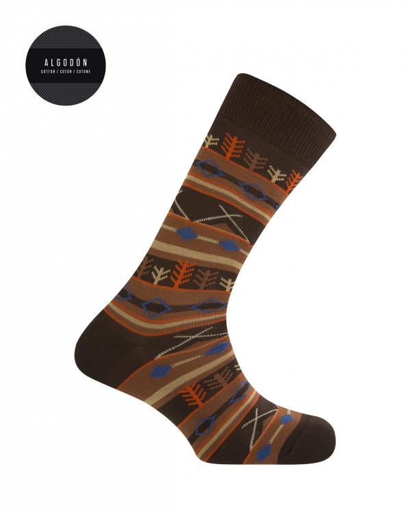 Short cotton socks - forest borders Color Brown - 1
