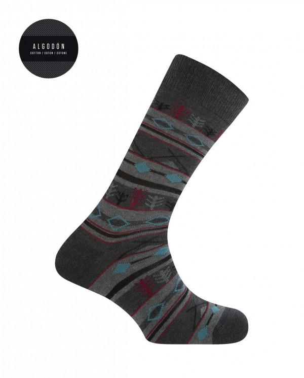 Chaussettes courtes en coton - bordures forestières Couleur Gris fonce - 1