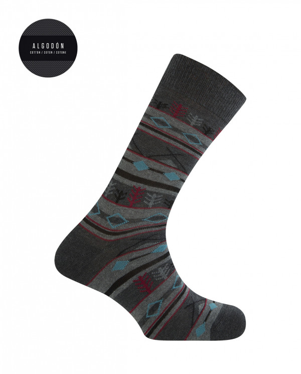 Short cotton socks - forest borders Color Grey - 1