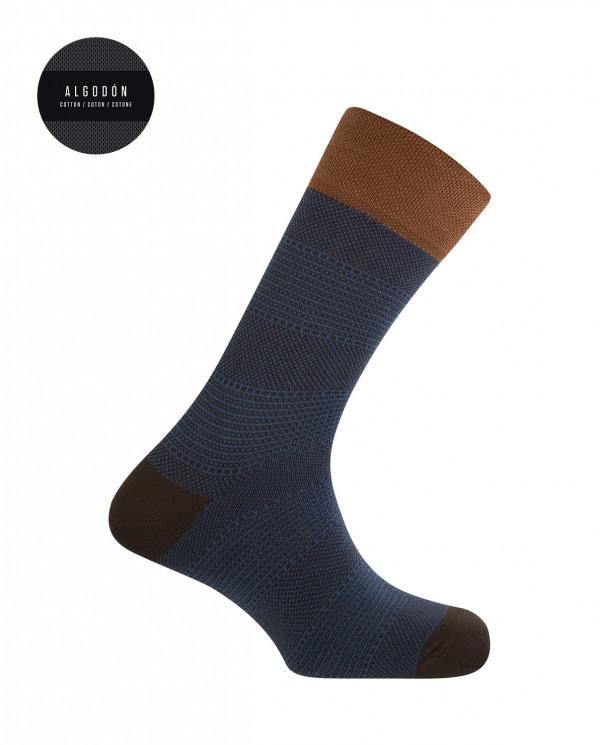 Short cotton socks - chopped design Color Brown - 1
