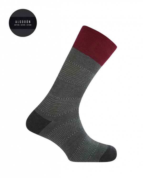 Short cotton socks - chopped design Color Grey - 1