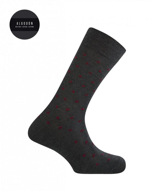 Short cotton socks - dots Color Grey - 1
