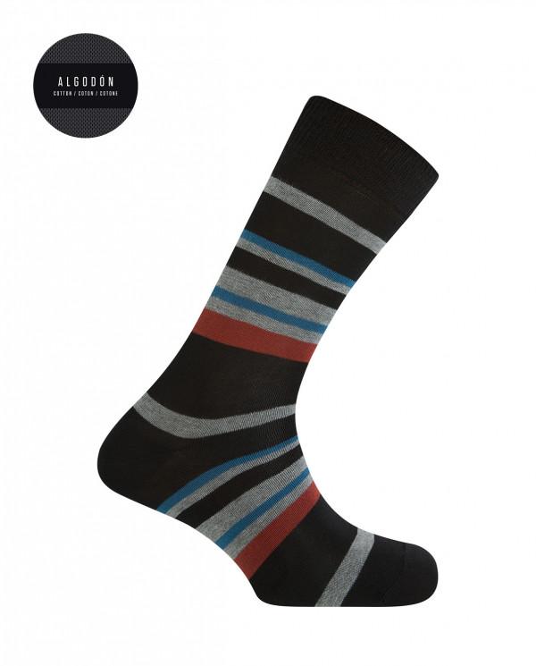 Chaussettes courtes en coton - rayures Couleur Noir - 1