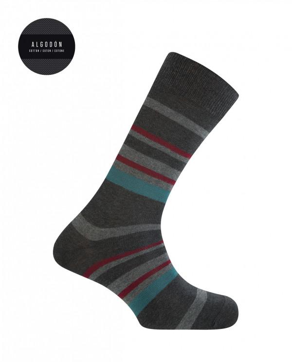 Chaussettes courtes en coton - rayures Couleur Gris fonce - 1