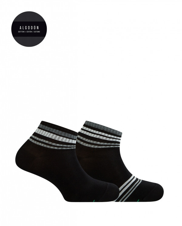 2 pack sports cotton ankle socks - striped Color Black - 1