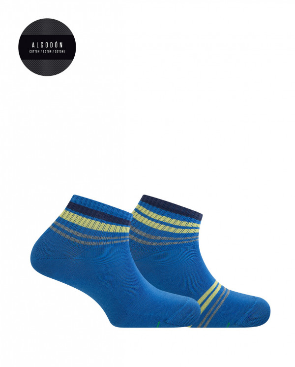 2 pack sports cotton ankle socks - striped Color Blue - 1