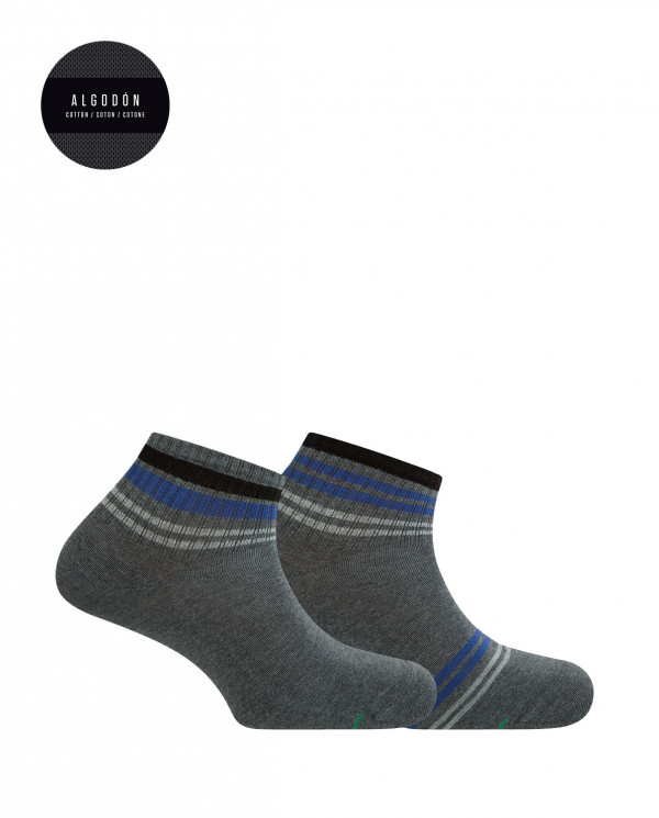 2 pack sports cotton ankle socks - striped Color Grey - 1