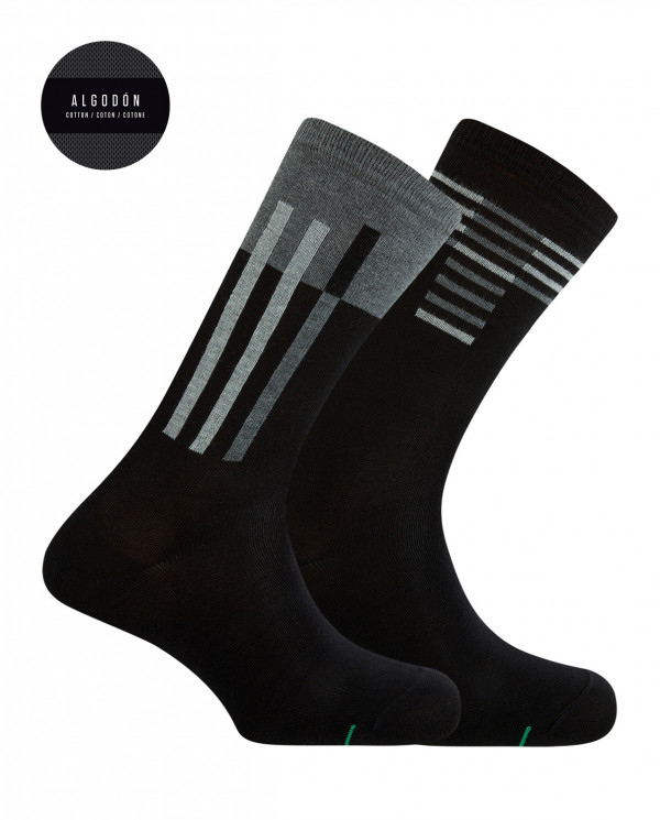 2 pack sports cotton ankle socks - striped Color Black - 1