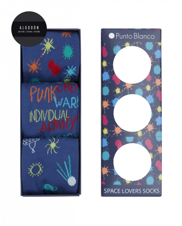 Gift box 3-pack cotton short socks - Space Lovers Color Blue - 1