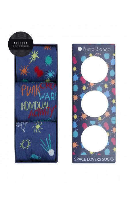 Coffret cadeau 3 paires chaussettes coton - Space Lovers Couleur Bleu - 1