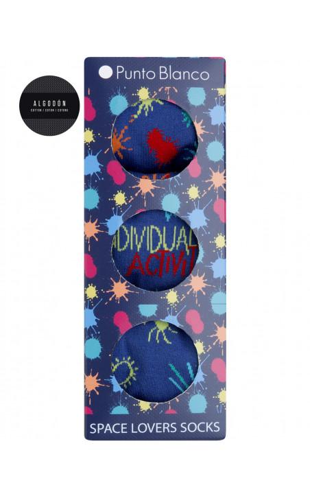 Coffret cadeau 3 paires chaussettes coton - Space Lovers Couleur Bleu - 1 - 2