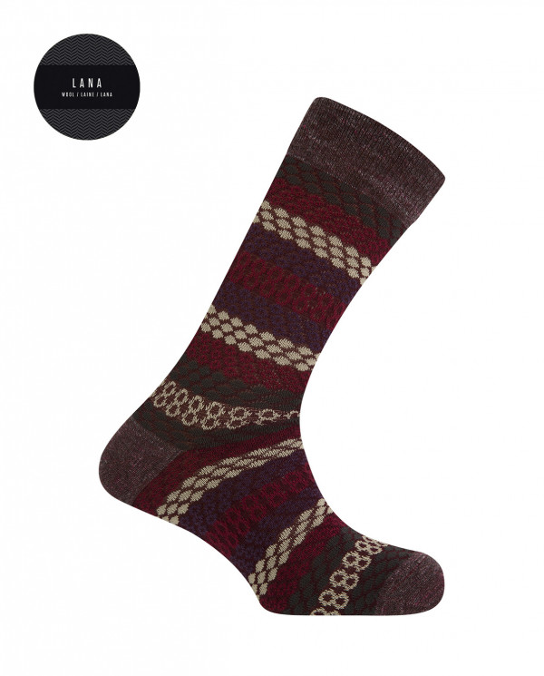 Cotton/wool short socks - borders Color Burgundy - 1